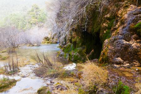cuenca: Natural   waterfall at river Cuervo in winter. Cuenca, Spain
