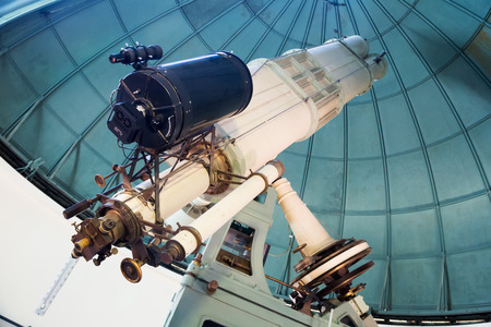 huge: Closeup view on huge professional telescope in observatory indoors Stock Photo