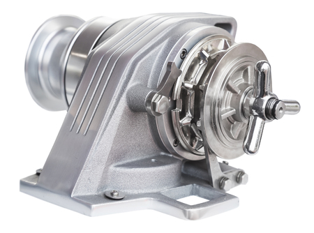 New horizontal anchor windlass with electric motor. Isolated over white  background