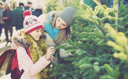 joyous: joyous girl with mom choosing New Years tree outdoors