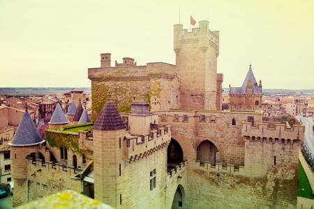 fantasy castle. Toned image of Olite castle in Spain Editorial