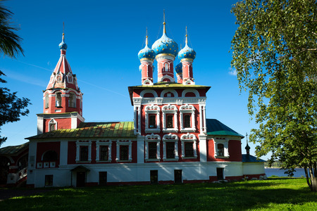 Russian orthodox church of Demetrius on spilled blood in small provincial town Uglich Stock Photo