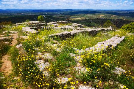 historical buildings ruins on cultural site san Antonio settlement in Spain