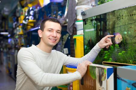 Ordinary customer choosing tropical fish in aquarium tank