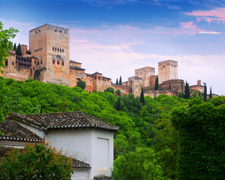 Dawn view of  towers of  Alhambra.  Granada,  Spain