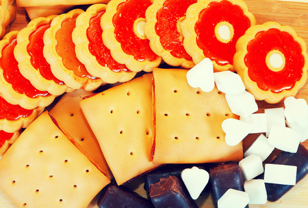 gateau: various cookies and  chocolate candy with  sugar Stock Photo