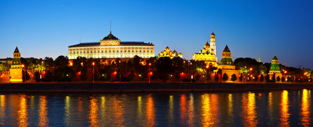 Panorama of Moscow Kremlin in summer night. Russia Stock Photo
