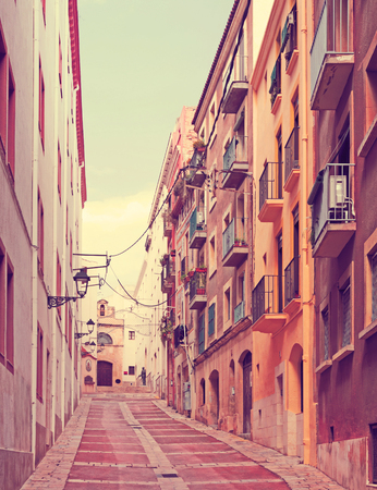 olden day: Ordinary street of european town. Tarragona, Spain