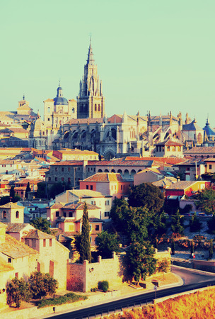 Primate Cathedral of Saint Mary in summer morning. Toledo, Spain Stock Photo