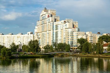 prestigious: MINSK, BELARUS - SEPTEMBER 02, 2016: High rise apartment house on Svislach river embankment  near Trajeckaje pradmiescie. Minsk, Belarus