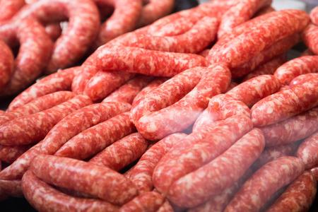 assort: counter with assort of sausage, close up shot local focus Stock Photo