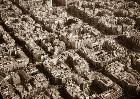quarters: Aerial view at residential quarters of Barcelona in sunny day