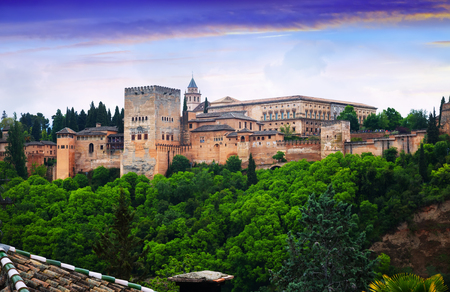 twilight view of   Nazaries palaces of Alhambra.  Granada,  Spain