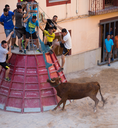 LA POBLA TORNESA, SPAIN - August 08, 2016:  People participating in bull chasing
