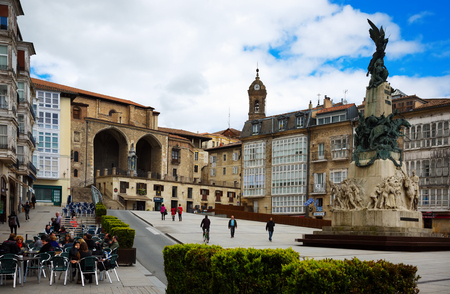 VITORIA, SPAIN - APRIL 21, 2016:  Day view of Virgen Blanca Square (Andre Maria Zuriaren plaza).  Spain Editorial