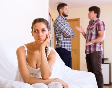 lovers quarrel: Quarrel among adult partners at home interior Stock Photo