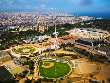 Sports Complex from above in Barcelona of Catalonia, Spain Editorial