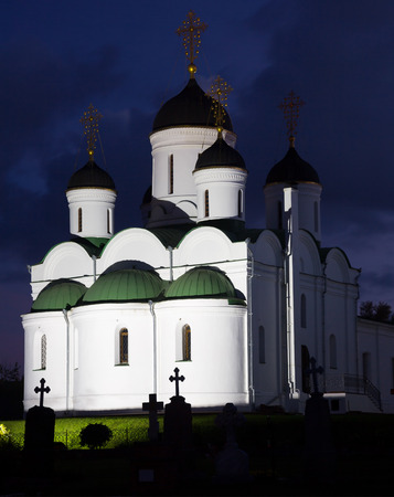 transfiguration: russian orthodox annunciation monastery in Murom, Russia illuminated in night darkness