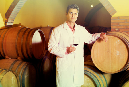 laboratorian: european taster of winery posing with wine in cellar