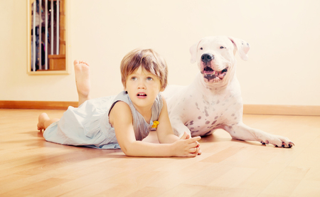 small happy girl on the floor with dogo Argentino