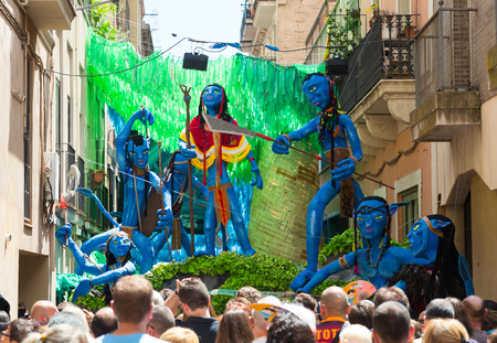 BARCELONA, SPAIN - AUGUST 16, 2015:   Major de Gracia Festival  in Barcelona. Decorated streets of Gracia district.  Avatar film theme