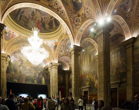 BARCELONA, SPAIN - APRIL 23, 2016:  St. George Hall (Salon de San Jorge) in palace Generalitat de Catalunya. Built in XVI-XVII century. Barcelona, Spain