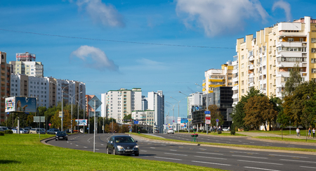 MINSK, BELARUS - SEPTEMBER 03, 2016: Praspiekt Masherava, Minsk, Belarus