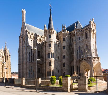 ASTORGA, SPAIN - JUNE 28, 2015: Episcopal Palace of Astorga, was built 1889-1815   by Antoni Gaudi.  Castile and Leon, Spain