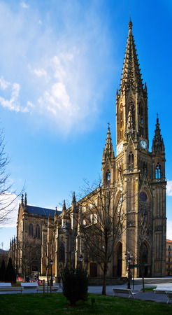 basque country: Day view of  Cathedral of the Good Shepherd in sunny day. San Sebastian, Basque Country Stock Photo