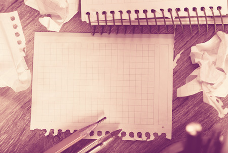not open: Notebook pages with writing materials Stock Photo