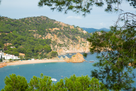 Picturesque green coast of Costa Brava view at sunny day in summer