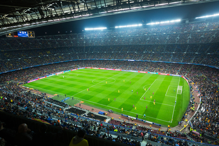 BARCELONA, SPAIN   NOVEMBER 04, 2015: Above View At Field And Audience  During
