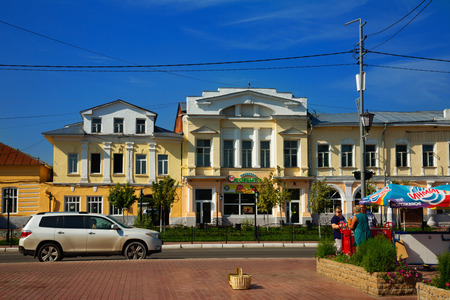 MUROM, RUSSIA : AUGUST 23, 2016: small russian town murom city center with buildings and park on sunny summer day Editorial