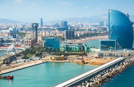 BARCELONA, SPAIN - JULY 8, 2016: View at seaside and famous Hotel W in harbor part of the city, Catalonia