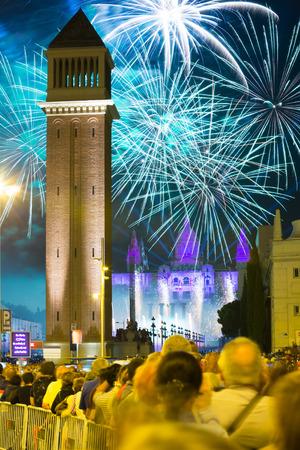 Firework show at square of Spain in Barcelona, Spain. Firework at closing ceremonies of La Merce Festival