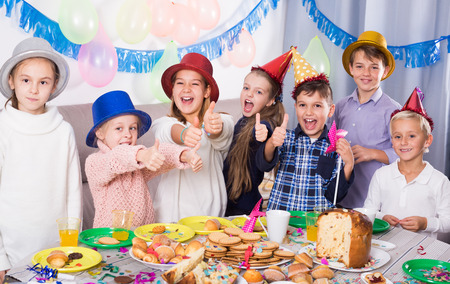 animation teenagers: Bright group of children having party friend?s birthday