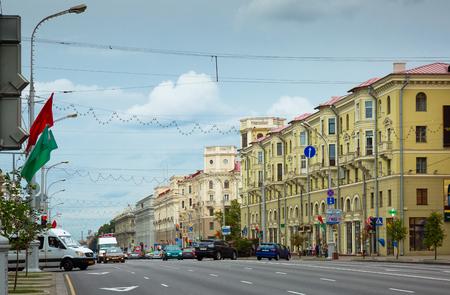 MINSK, BELARUS - SEPTEMBER 03, 2016: Main transport artery of Minsk, Belarus