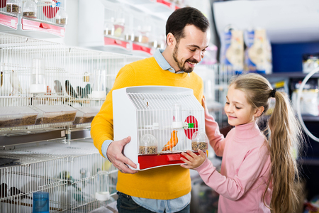 boasting: positive american father and daughter enjoying their purchase of canary bird in pet shop
