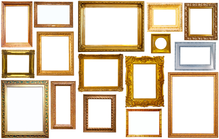 silvery: assortment of golden and silvery art and photo frames isolated on white background