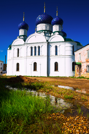 Epiphany monastery with Church of Feodorovskaya Icon of the Mother of God located in small town Uglich in Russia Stock Photo