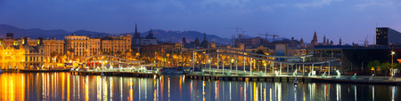 Panorama of Port Vell at Barcelona in dawn. Catalonia, Spain Stock Photo