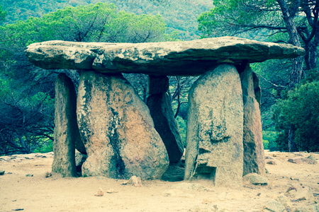 megaliths: 4000 years old Pedra Gentil dolmen in Catalonia