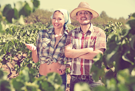 horticultural: portrait of two smiling vineyard workers standing together outdoors among grapes tree