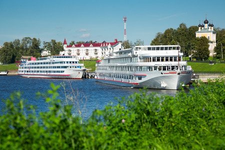 View on two cruise liners waiting near town terminal in Uglich, Russia