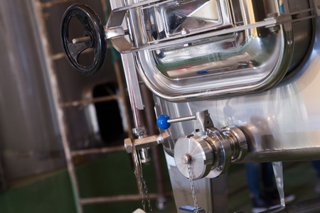 silvery: silvery factory machines with variuos buttons and elements Stock Photo