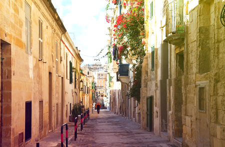 olden day: Old street  and picturesque houses of Valletta. Malta