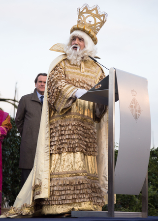 BARCELONA, SPAIN –  JANUARY 5, 2017: King Melchor greeting citizens and visitors of Barcelona. Barcelona, Spain Editorial