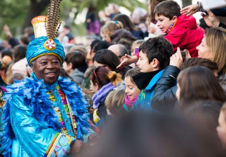 melchor: BARCELONA, SPAIN â JANUARY 5, 2017: King Baltasar with entourage takes letters from children. Barcelona, ??Spain