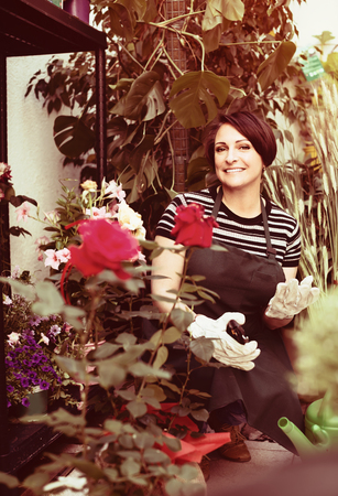 horticultural: Smiling female florist caring of flowers with horticultural tools in flower shop