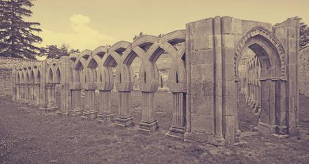 Gothic cloister of San Juan de Duero Monastery in Soria.   Castilla y Leon, Spain
